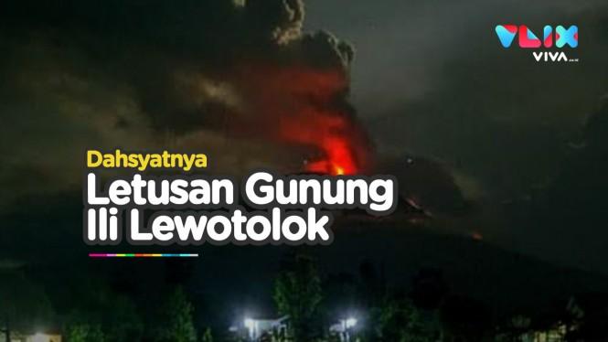 Detik-detik Gunung Ili Lewotolok Meletus Semburkan Lava