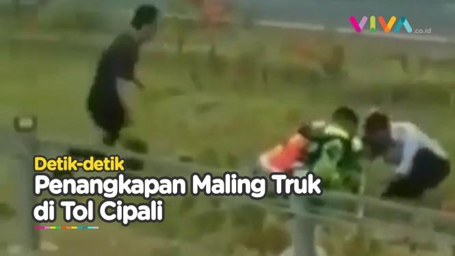 Detik-detik Penangkapan Pencuri Truk di KM 159 Tol Cipali